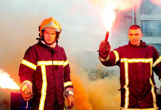 Saint-Brieuc, Guingamp, les pompiers en grève aujourd'hui (OF) dans Luttes sociales en Bretagne pompier